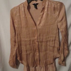 H&M Hi/Lo Top, Button Front, Tan, Poly, Sz. 4